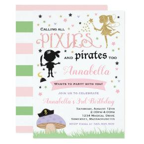 Pixie And Pirate Birthday Invitations Fairy Pirate