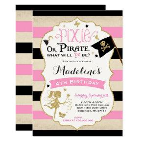 Pixie And Pirate Birthday Invitation Fairy Pirate