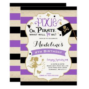 Pixie And Pirate Birthday Invitation Fairy Pirate