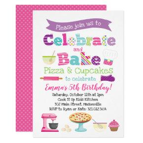 Pizza and Cupcake Baking Party Invitation
