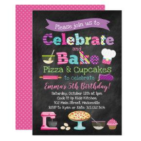Pizza and Cupcakes Baking Party Invitation