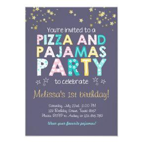 Pizza and Pajamas birthday Invitations Sleepover