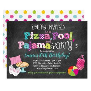 Pizza, Pool and Pajama Party Invitation