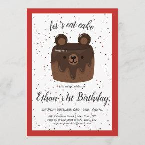 Plaid Bear Cake Birthday Invitation