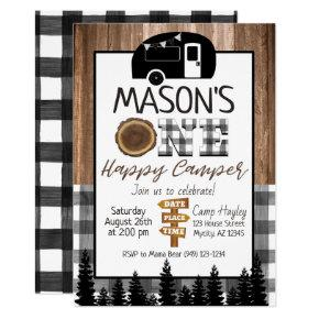 Plaid black and white One Happy Camper Boy Camping Invitation