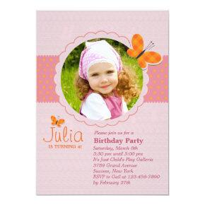 Plaid Butterfly Photo Birthday Party Invitations