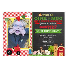 Plaid Farm Tractor Birthday Party Invitations