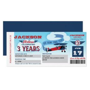 Plane Ticket, Aviation, Airplane, 3rd Birthday Invitation