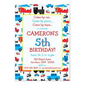 Planes, Trains, and Cars Transportation Birthday Invitation