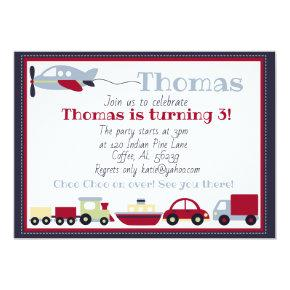 Planes, Trains, Boats and Cars Birthday Invitation