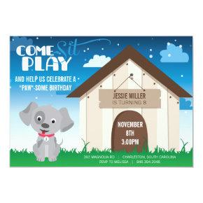 Playful Dog or Puppy Birthday Party Invitations