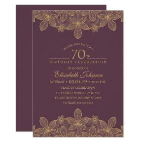 Plum Purple 70th Birthday Party Unique Golden Lace Invitation