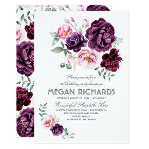 Plum Purple Floral Watercolor Boho Birthday Party Invitation