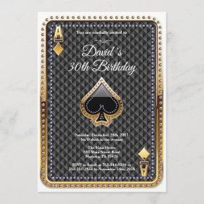 Poker Playing  Casino Birthday Invitation