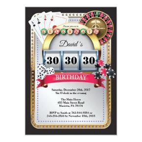 Poker Playing  Casino Gold birthday invitation
