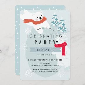 Polar Bear Ice Skating Blue Birthday Party Invitation