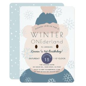 Polar Bear Onederland Boy 1st Birthday Invitation