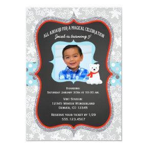 Polar Express Boy Photo Birthday Invitations