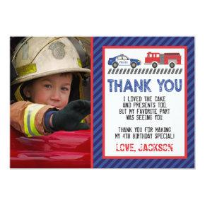 Police and Fire Thank You Card with Photo
