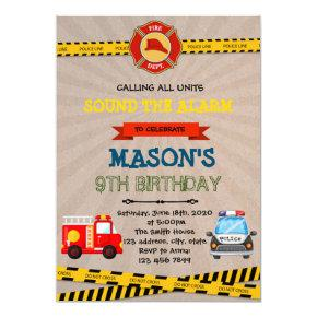 Police and firefighter theme party invitation