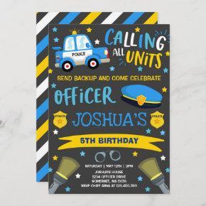 Police Birthday Invitation Police Officer Party