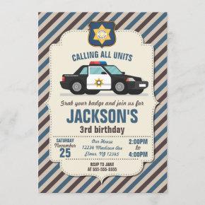 Police Birthday Invitation / Retro Police Car