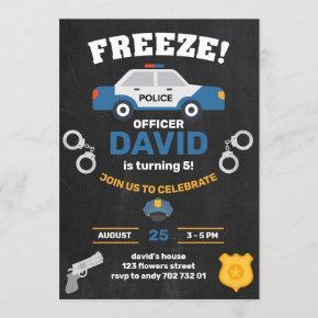 Police Boy Birthday Party Policeman Chalkboard Invitation