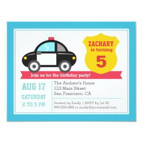 Police Car Kids Birthday Party Invitations