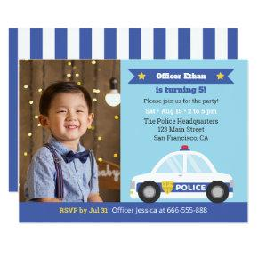 Police Car Police Themed Boys Birthday Party Photo Invitation
