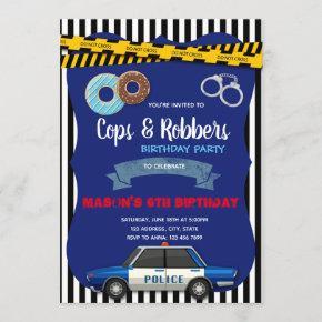 Police donuts party birthday invitation