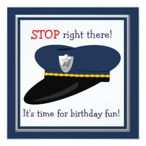 Police Hat Cop Theme Birthday Party Invitations