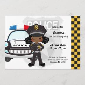 Police kids party invitation