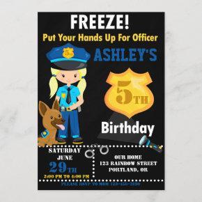 Police officer birthday invitation Girl K9 dog