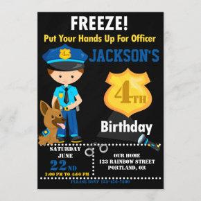 Police officer birthday invitation Police badge