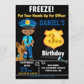Police officer birthday invitation Police k9 dog