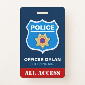 Police Officer Kids Birthday Invitation ID  Badge