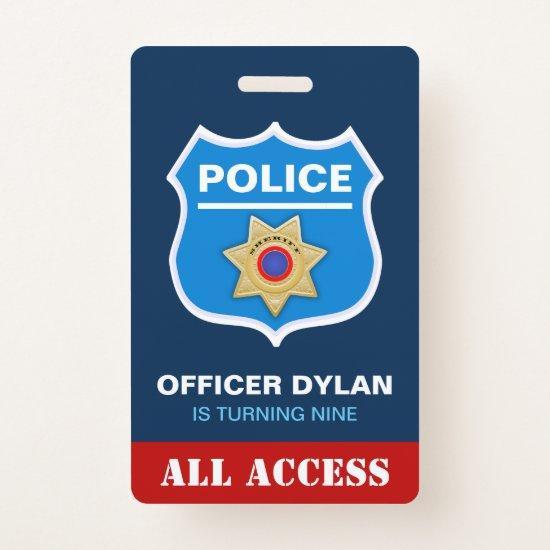 Police Officer Kids Birthday Invitation ID  Badge
