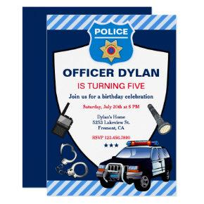 Police Officer Kids Birthday Party Invitations
