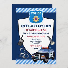 Police Officer Kids Birthday Party Invitation