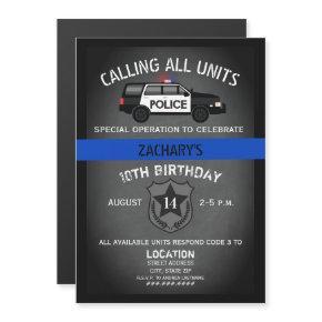 Police SUV Badge Thin Blue Line Birthday Magnetic Invitation