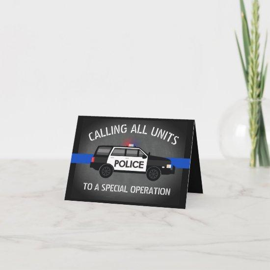 Police SUV Thin Blue Line Special Op Birthday Invitation