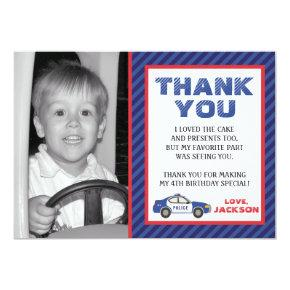 Police Thank You Card - Police Birthday Party