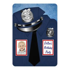 Policeman Birthday Party Invitations