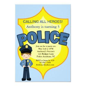 Policeman Rescue Heroes Birthday Invitations