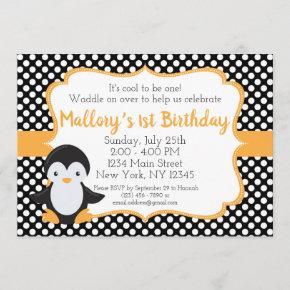 Polkadot Penguin Birthday Invitation