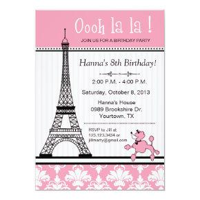 Poodle & Eiffel Tower Theme Birthday Invitations