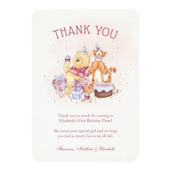 Pooh & Friends Watercolor |  Birthday Thank You Card