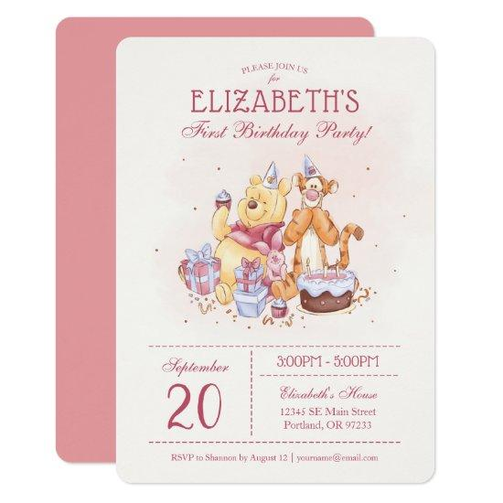 Pooh & Friends Watercolor | First Birthday Card