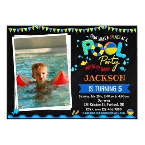 Pool birthday invitation Pool party splash invite