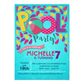 Pool Birthday Party Invitation